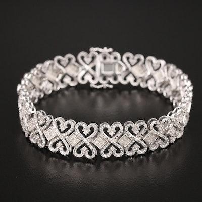 Sterling 2.00 CTW Diamond Crossover Heart Bracelet