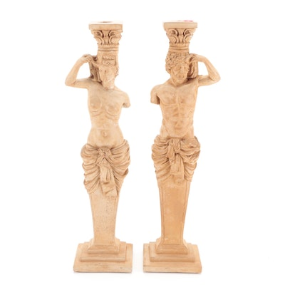 Neoclassical Style Cast Plaster Figural Column Candlesticks