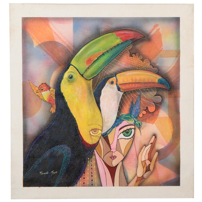 Ricardo Maya Acrylic Painting of Figure and Tucans