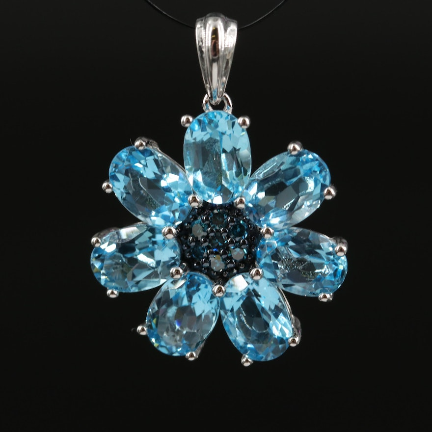 Sterling Swiss Blue Topaz and Diamond Floral Pendant