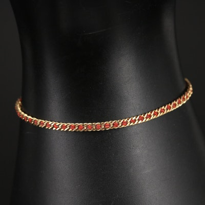 14K Gold and Thread Braided Bracelet