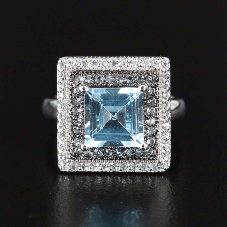 Sterling Sky Blue Topaz and Zircon Double Halo Ring