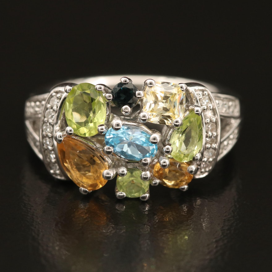 Sterling Gemstone Cluster Ring with Swiss Blue Topaz, Diamond and Peridot