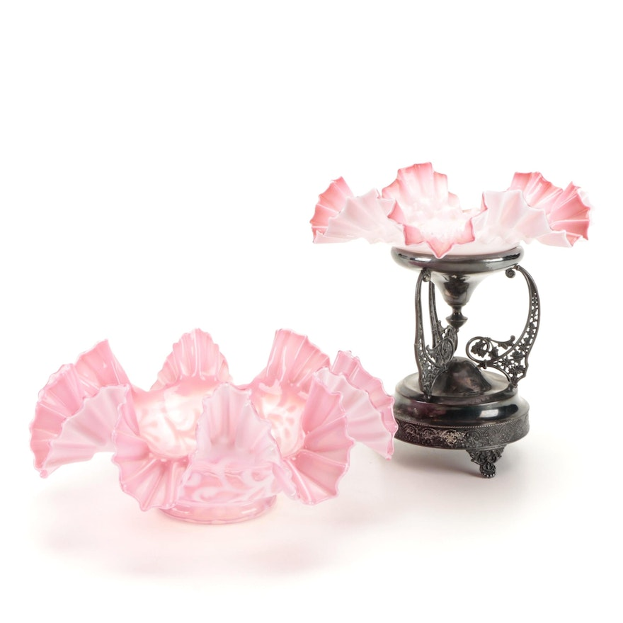 Cranberry and Cased Glass Ruffled Rim Bowls with Silver Plate Stand