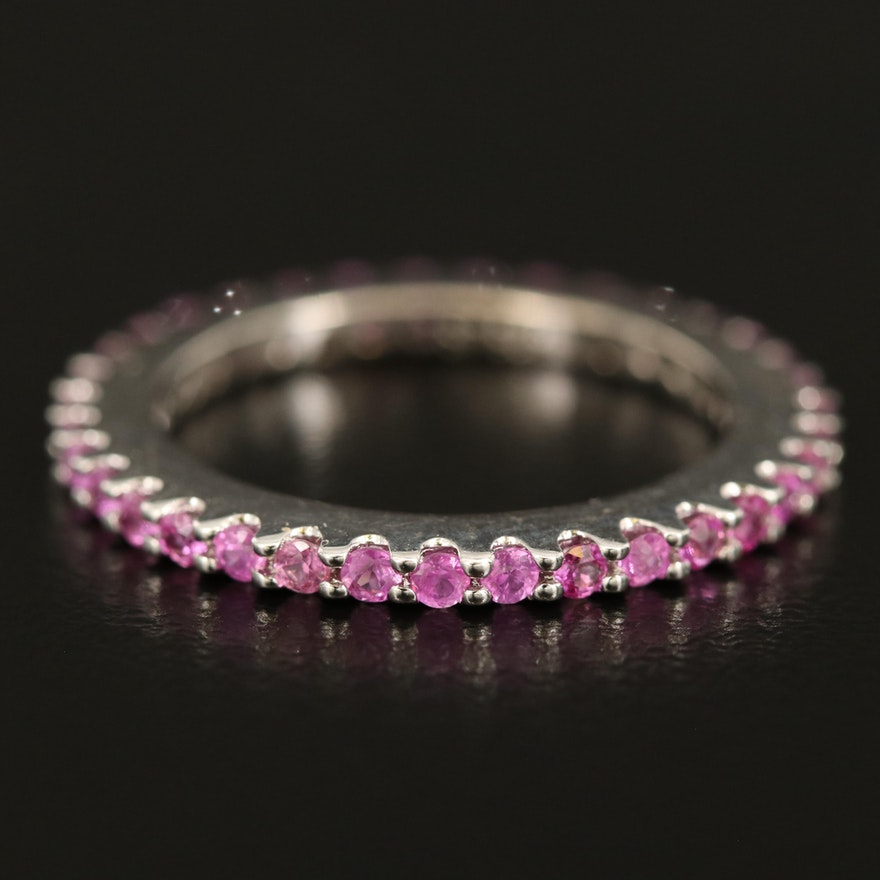 Sterling Pink Sapphire Eternity Band