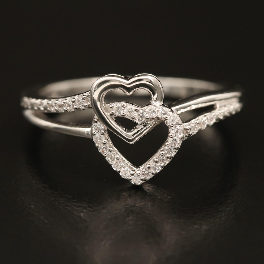Sterling Interlocked Hearts Ring with Cubic Zirconia