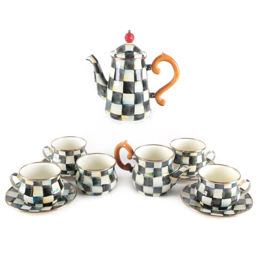"""MacKenzie-Childs """"Courtly Check"""" Coffee Pot, Cups and Saucers and Creamer"""