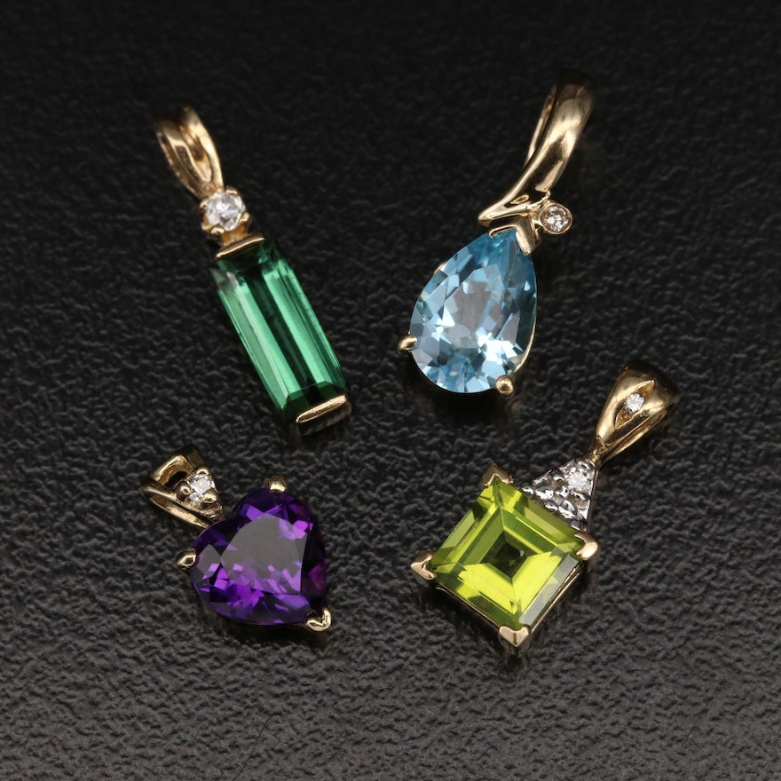 10K and 14K Pendants with Amethyst Heart and Sky Blue Topaz