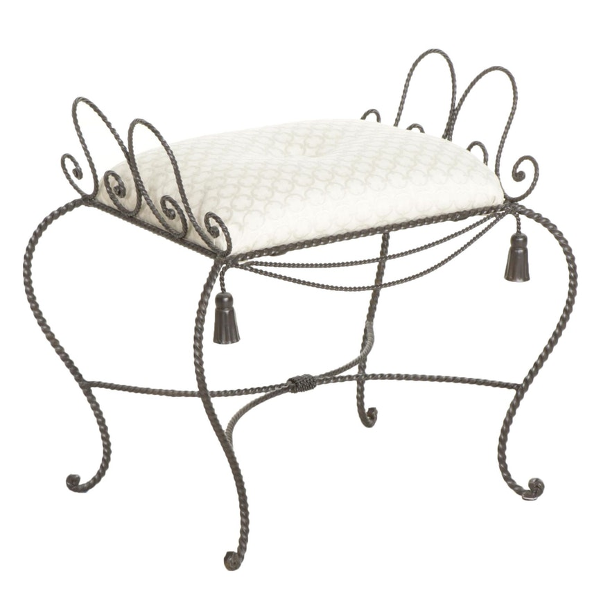 Victorian Style Twisted Metal Vanity Stool, Mid to Late 20th Century