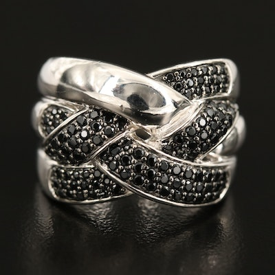Sterling Black Spinel Braided Ring