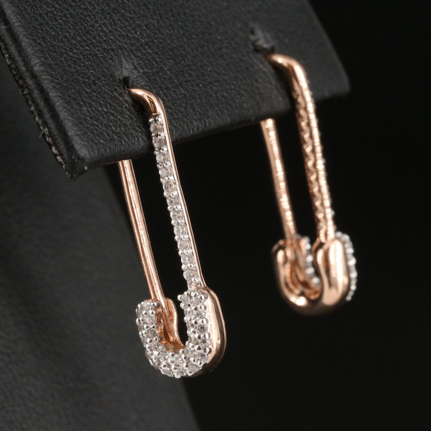Sterling Silver Cubic Zirconia Safety Pin Earrings