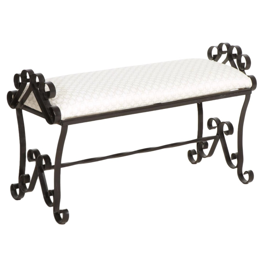 Scrolled Wrought Iron Upholstered Bench