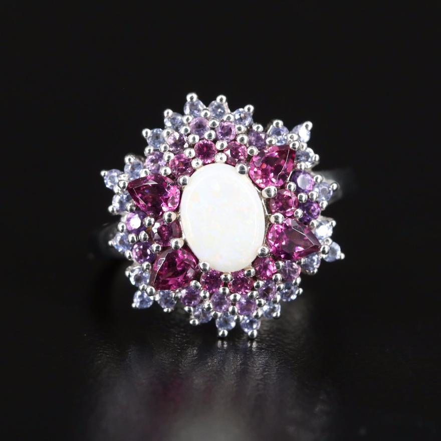 Sterling Opal, Garnet and Amethyst Cluster Ring