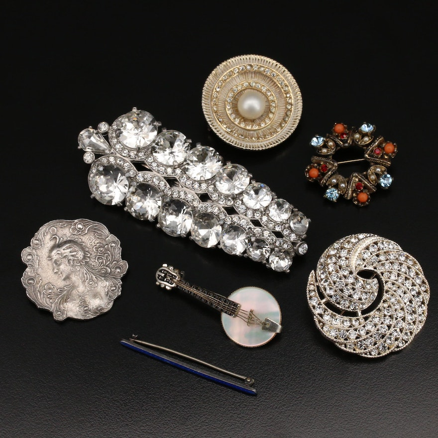 """Vintage Brooches Including Carol Anderson """"CAbi"""" Jewelry and Art Nouveau Style"""
