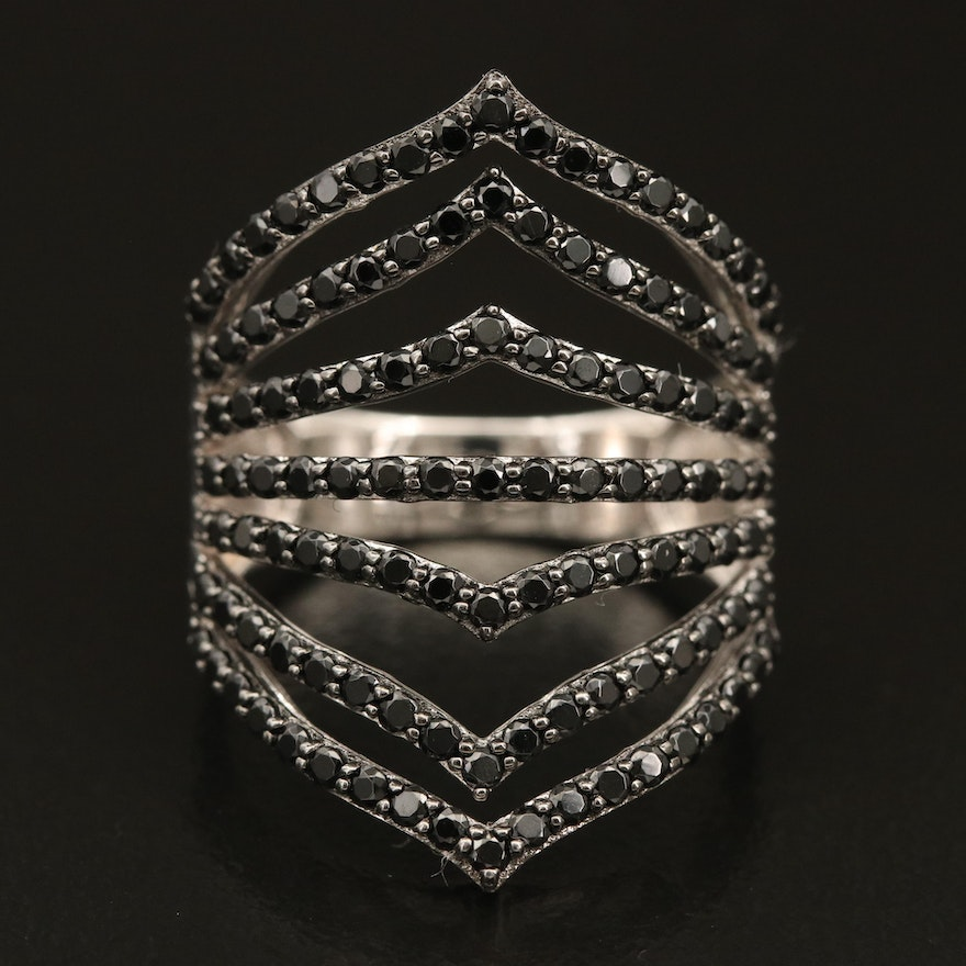 Sterling Spinel Multi-Row Openwork Ring