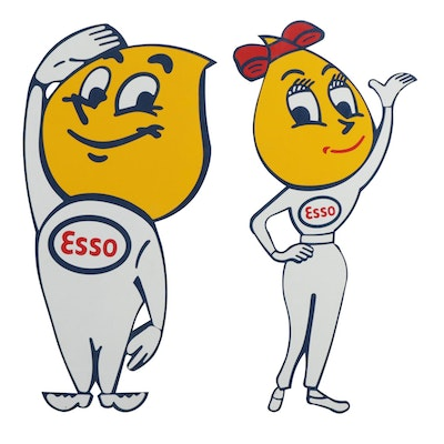 Two Esso Motor Oil Metal Signs