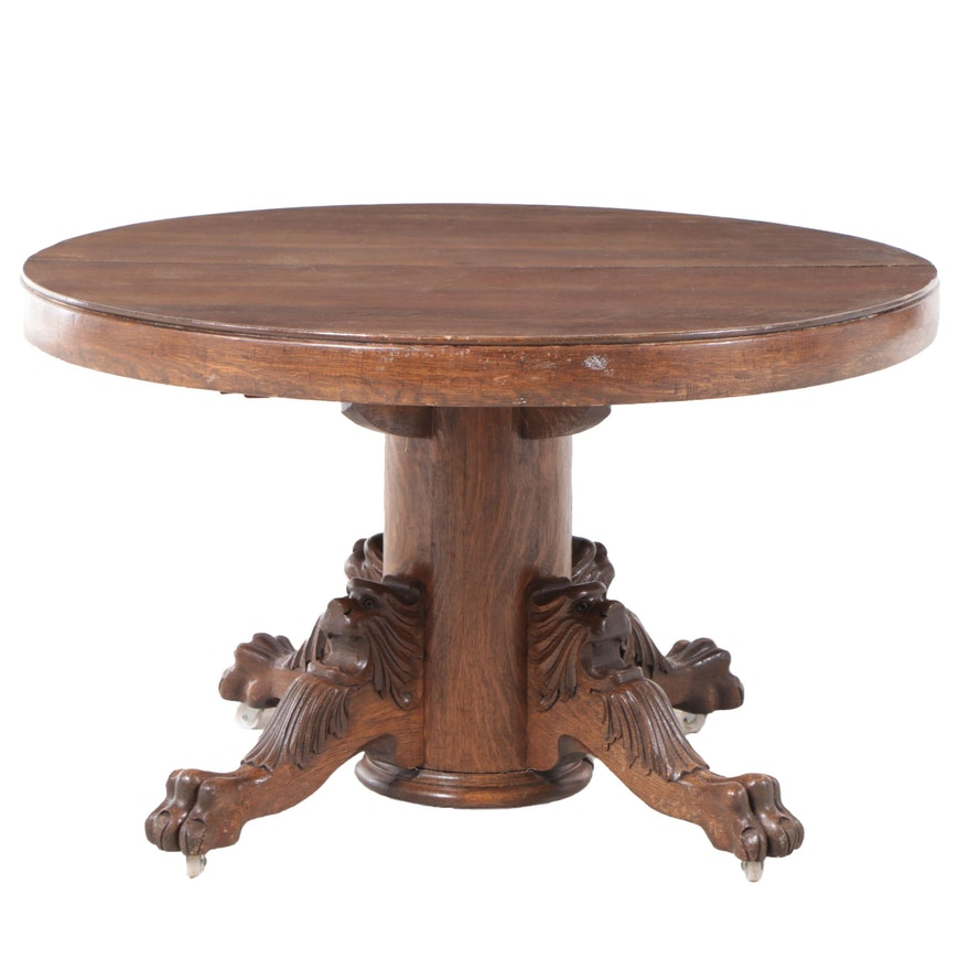 Victorian Carved Oak Extension Dining Table, Late 19th or Early 20th Century