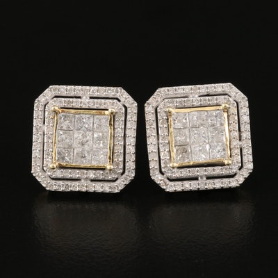 Sterling 1.68 CTW Invisible Set Diamond Earrings