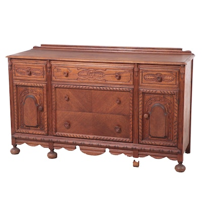 Jacobean Revival Carved Oak Sideboard, Early 20th Century