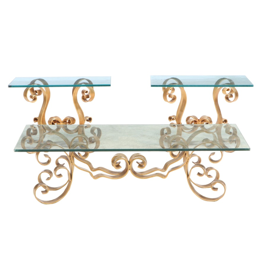 Hollywood Regency Style Gilt Iron and Glass Top Coffee and Side Tables