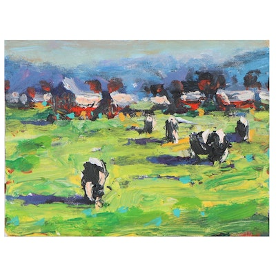 """Sam Raines Landscape Acrylic Painting """"Cows in the Field,"""" 21st Century"""