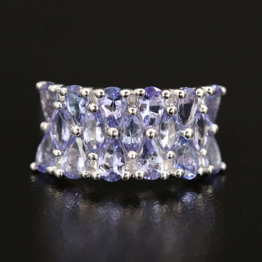 Sterling Tanzanite Concave Ring