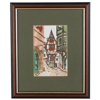 "Robert Wilson Ink and Watercolor Painting ""Bernkastel/Mosel"" 1991"