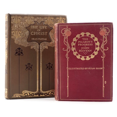 """Illustrated """"The Pilgrim's Progress"""" and """"The Life of Christ,"""" Early 20th C."""