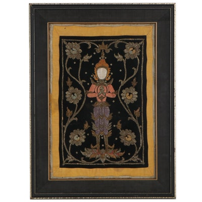 Burmese Kalaga Embroidery Panel of Figure With Floral Patterns