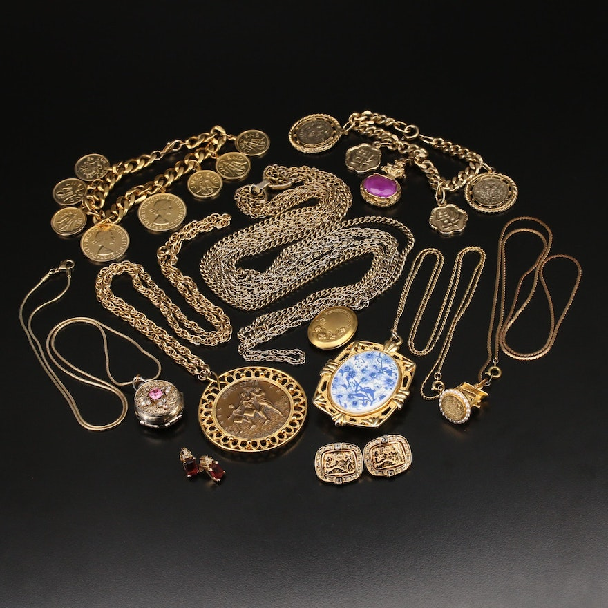 Jewelry and Coin Grouping Including Coro Locket, Rhinestones and Coin Bracelets