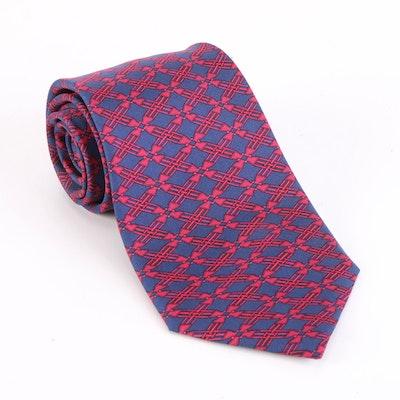 Hermès 7186 UA Stylized Latticework Patterned Hand-Stitched Silk Twill Necktie