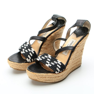 Jimmy Choo Portia Crisscross Espadrille Wedge Sandals