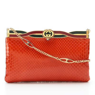 Gucci Broadway Snakeskin Evening Bag in Red