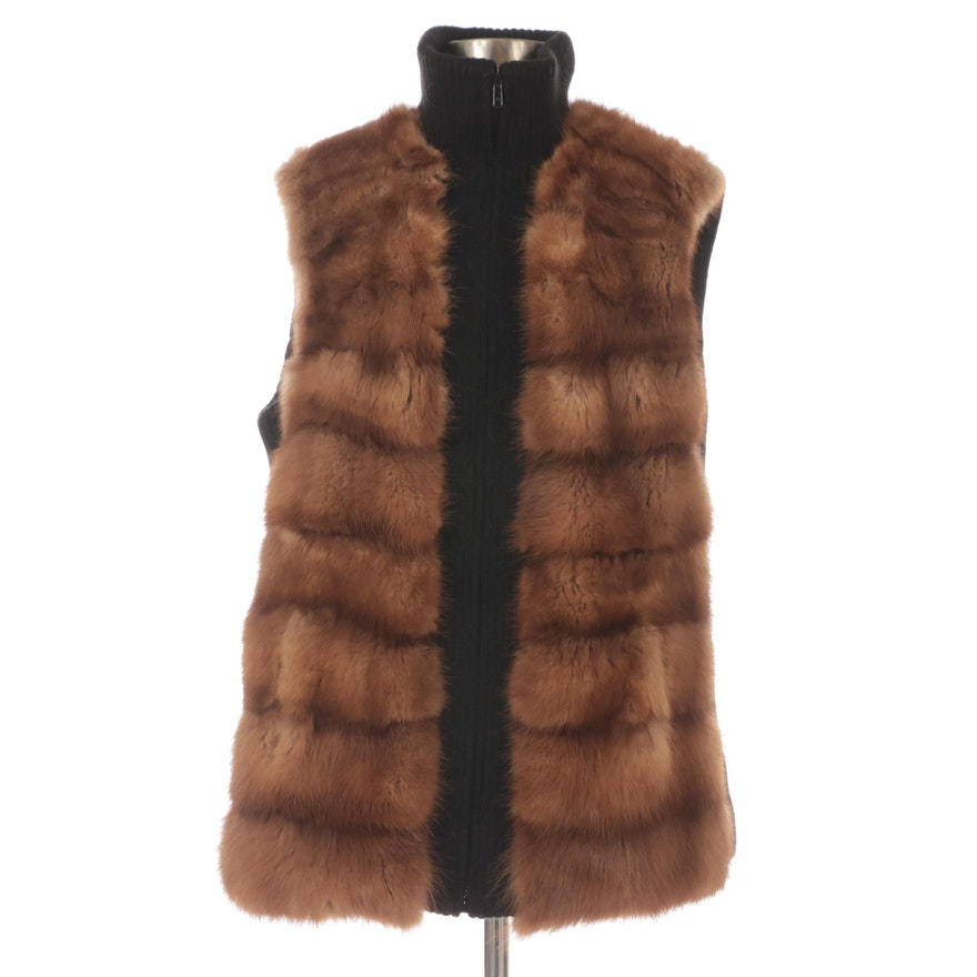 Marten Fur and Wool Blend Zip-Up Sleeveless Vest with Standing Collar