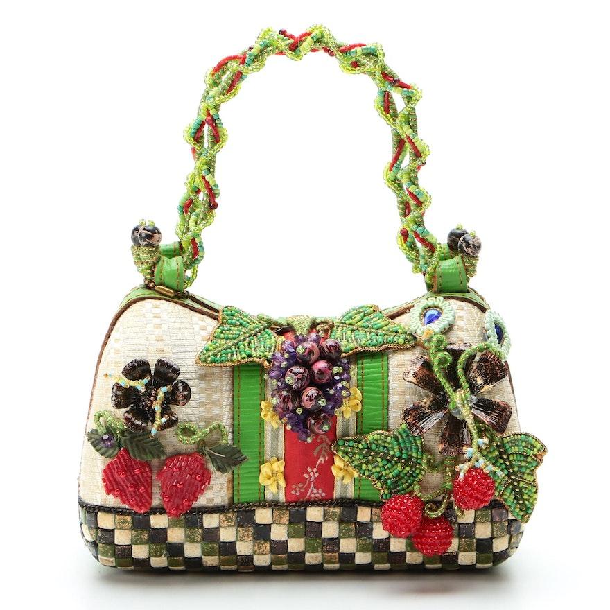 Mary Frances Embellished Handbag with Fruit and Floral Motif