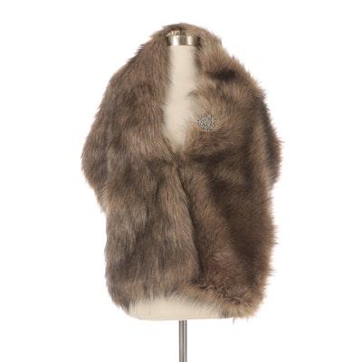 Faux Fur Wrap Stole with Rhinestone Embellishment