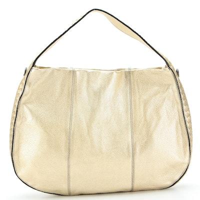 Bottega Veneta Gold Metallic Leather Hobo Shoulder Bag with Detachable Strap