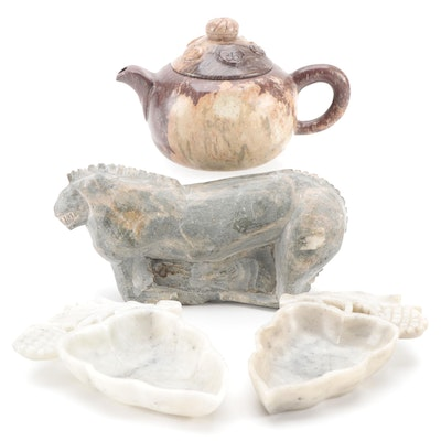 Chinese Carved Jasper Teapot with Calcite Dishes and Lion Figurine