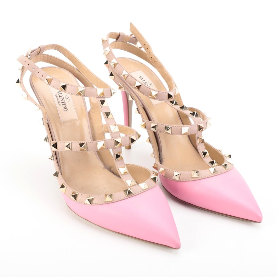 Valentino Rockstud Bicolor Pointed-Toe Pumps with Ankle Strap in Box