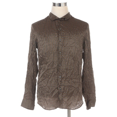 Men's Armani Collezioni Geometric Patterned Button-Down Silk Shirt