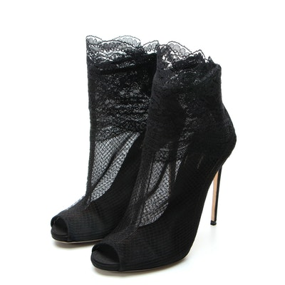 Dolce & Gabbana Black Mesh and Lace Peep Toe Booties