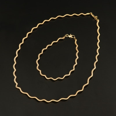 14K Scalloped Necklace and Bracelet Set