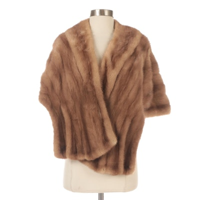 Pastel Mink Fur Capelet with Shawl Collar.