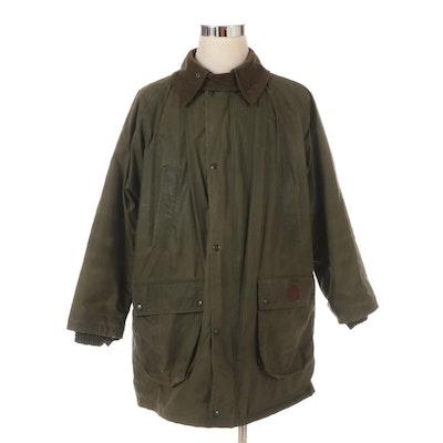 Men's Burberrys' Field Coat in Green Waxed Cotton