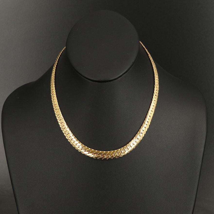 Italian 14K Graduated Herringbone Necklace