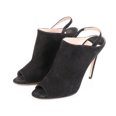 Miu Miu Calzature Donna Slingback Mules in Black Suede