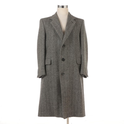 Men's Christian Dior Wool Herringbone Overcoat