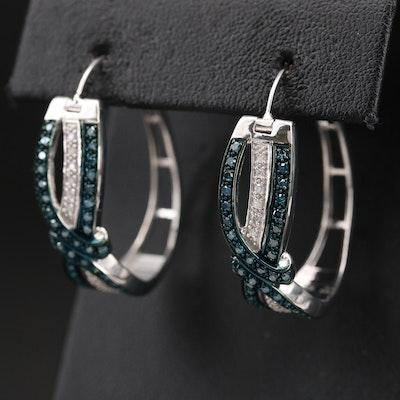Sterling 1.00 CTW Diamond Crossover Hoop Earrings