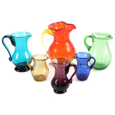Hand Blown Colored Glass Pitchers and Creamers, Mid to Late 20th Century