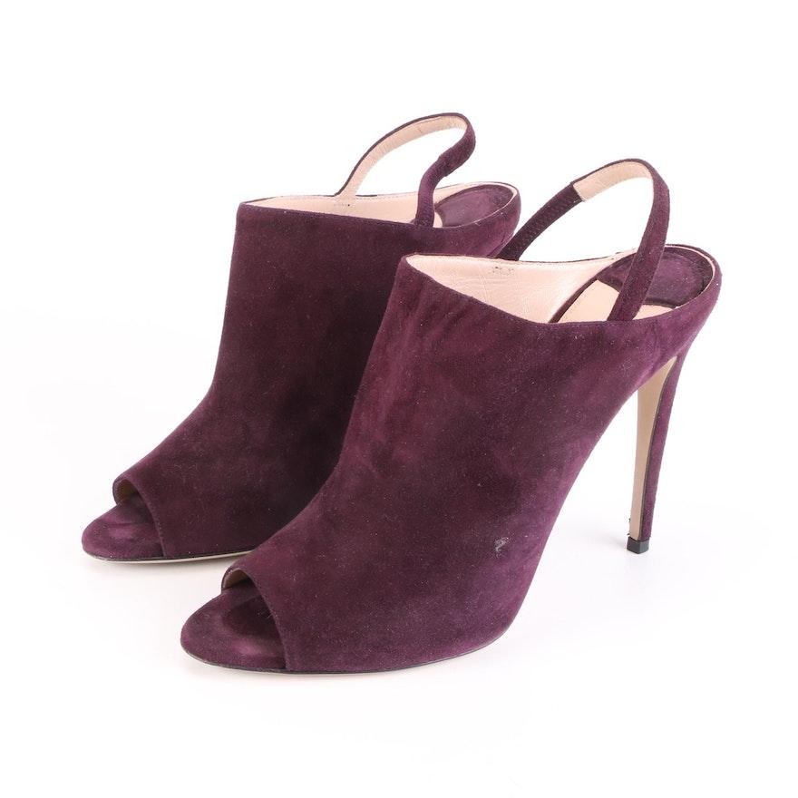 Miu Miu Purple Suede Peep Toe Heels